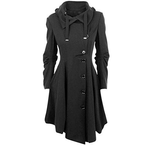 HANMAX Mode Manteau de Laine Femme Irrgulire Manches Longue Automne Hiver avec Ceinture Grande Taille Noir