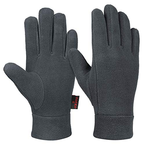 OZERO Winter Running Gloves with Insulated Polar Fleece and Thermal Cotton Lining - Cold Weather Warm Glove Liners for Men and Women (Gray,Small)