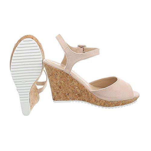 Compensé Chaussures 3811 Compensees 15 Ital Sandales Sandales Design Femme Beige wRqRBAO