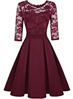 ihot Women's Vintage Floral Lace 2/3 Sleeve Evening Prom Party Cocktail Dress
