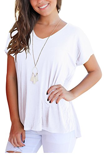 FAVALIVE T Shirts for Women Short Sleeve Shirts and Blouses V Neck Tee Tops White XL by FAVALIVE (Image #1)