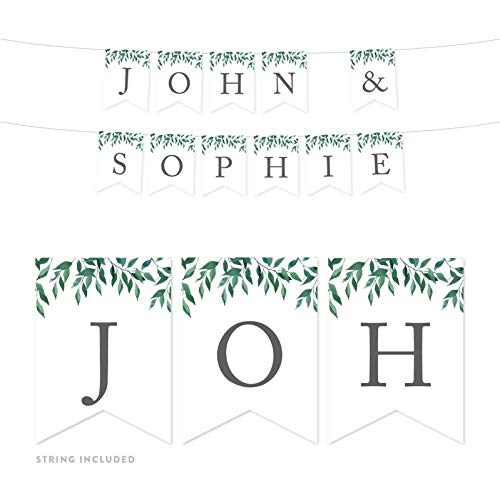 (Andaz Press Personalized Natural Greenery Green Leaves Party Banner Decorations, John & Sophia, Bride and Groom Names, Approx 5-Feet, 1-Set, Wedding Bridal Shower Hanging Pennant Decor, Custom Name)