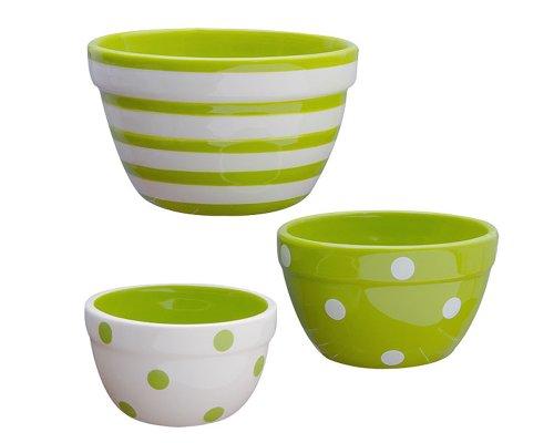 Terramoto Ceramic 3-Piece Polka Dots and Stripes Prep Bowl Set, Moss Green