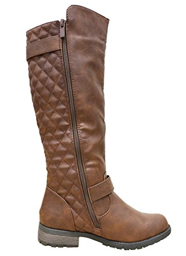 Knee Womens High Quilted Select Side Boots Brown Zip Cambridge Flat Riding Xgw4q4