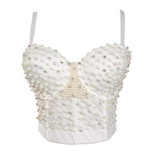 XDH-RTS Pearls Women's Bustier Sexy Push Up Bra Cropped Top Vest Plus Size Wedding Lingerie White