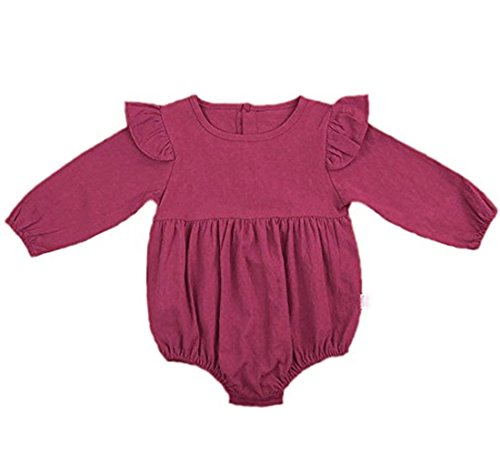 Nowimcute Infant Baby Girl Sisters Long Sleeve Bodysuit Romper Ruffles Fly Sleeve Outfit Clothes (80(12-18 months), Purple red) ()