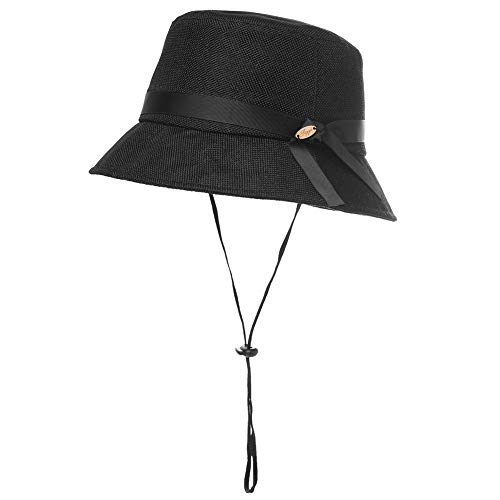 (Womens Ladies Summer Sun Beach Straw Bucket Hats UV Protection Fashion Outdoor Patio Crushable Packable Foldable Black)