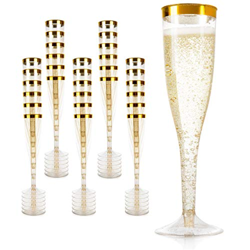Gold Glitter Plastic Champagne Flutes: Elegant Clear Plastic Champagne Glasses Set for Formal Events - Bulk Disposable Champagne Flutes for Parties, Wedding Toasting, Showers and More - 30 Piec