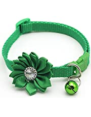 Cat Collar with Flower and Bell, Kitty Kitten Necklace for Small Dogs Cats Rabbit Safety Pet Collar Girl Boy (1 Pack)