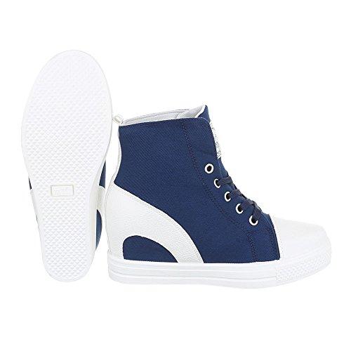 Ital-Design High-Top Sneaker Damenschuhe High-Top Keilabsatz/Wedge Sneakers Schnürsenkel Freizeitschuhe Blau