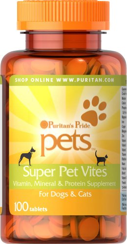 PURITANS PRIDE - SUPER PET VITES 100 TABLETAS PERROS Y GATOS PURITANS
