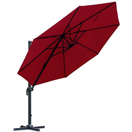 Patio 11 Feet Offset Cantilever Umbrella Outdoor Hanging