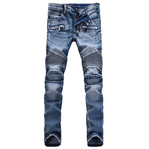 Blau Desgastados Flacos Clásico Pantalones Los Mezclilla Hombres Vaqueros De Chicos wXvUZz
