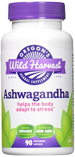 Oregon's Wild Harvest Ashwagandha Organic Supplement, 90 Count vegetarian capsules, 1200mg organic Ashwagandha root