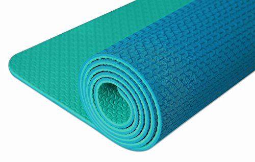 "IUGA Non Slip Yoga Mat for All Types of Yoga Eco Friendly & SGS Certified TPE material – Odorless Non Slip Durable and Lightweight Dual Color Design Size 72""x24"" Thickness ¼ Inch"