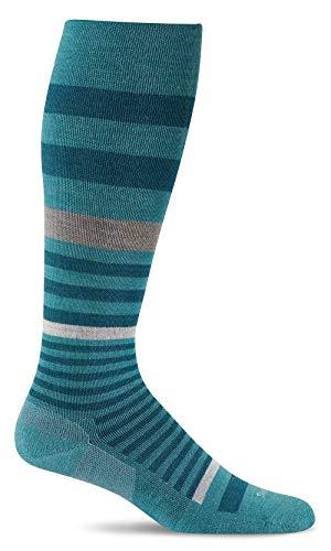 Sockwell Women's Orbital Stripe Graduated Compression Socks, Mineral, Small/Medium
