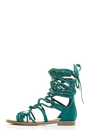 Breckelles Donna Open Toe Strappy Annodato Allacciatura Zip Posteriore Gladiatore Sandalo Piatto Verde Acqua