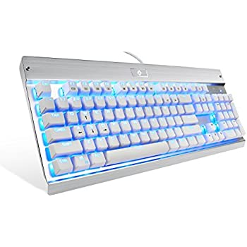 ... Natural Ergonomic Keyboard, Industrial Aluminium, Backlit and Blue Switch with 104 Illuminated LED backlighted Keys for Windows PC Office Gamer - White