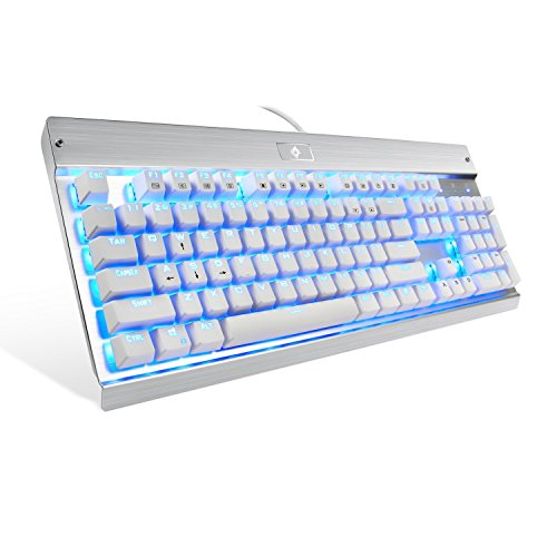 Eagletec KG011 Mechanical Keyboard, USB Wired Natural Ergonomic Keyboard, Industrial Aluminium, Backlit and Blue Switch with 104 Illuminated LED backlighted Keys for Windows PC Office Gamer - White