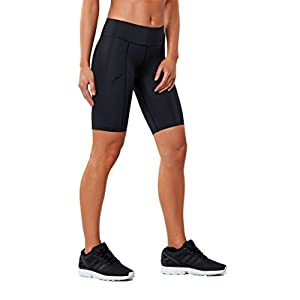 2XU Women's Mid-Rise Athletic Compression Shorts, Black/Dotted Black Logo, X-Large