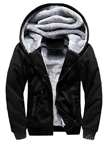 Coats Warm Men's Thick TTYLLMAO Lined Black Winter Hoodies Jackets Fleece Oqna8Cw