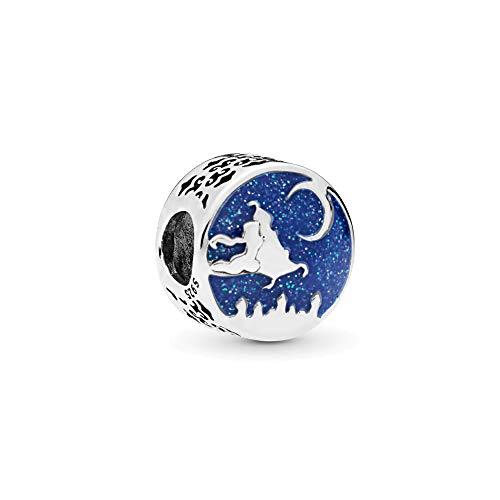 Aladdin Magic Carpet Ride Charm Authentic Sterling Silver Star Moon Bead fit Pandora Bracelet (Disney & Night Sky) (Magic Lamp Charm)