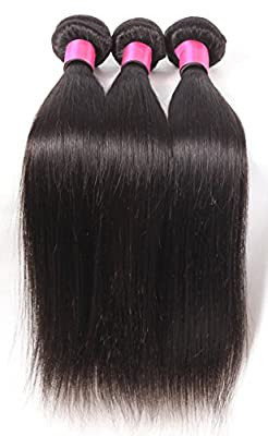 DFX Hair (TM) 8~30 inches Brazilian Virgin Human Hair Extension Silky Straight, Pack of Three, 100g/Bundle, 6A Natural Color Weft