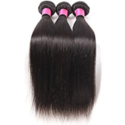 DFX Hair (TM) 8~30 inches Brazilian Virgin Human Hair Extension Silky Straight, Pack of Three, 100g/Bundle, 6A Natural Color Weft (16 16 16)
