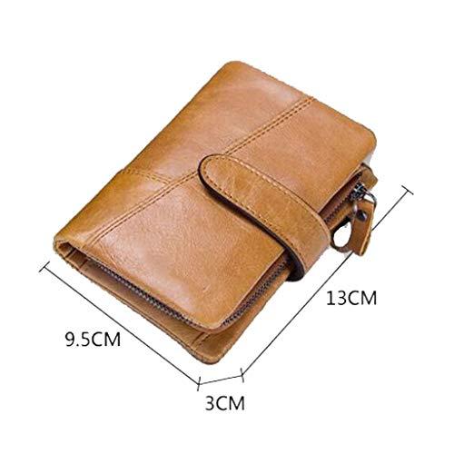 Noir One En Homme Véritable Brown Cuir Active Zero Stitching Court Handbag Size couleur Purse Taille Zipper Portefeuille D'anniversaire Cadeau Ua5qnxdU