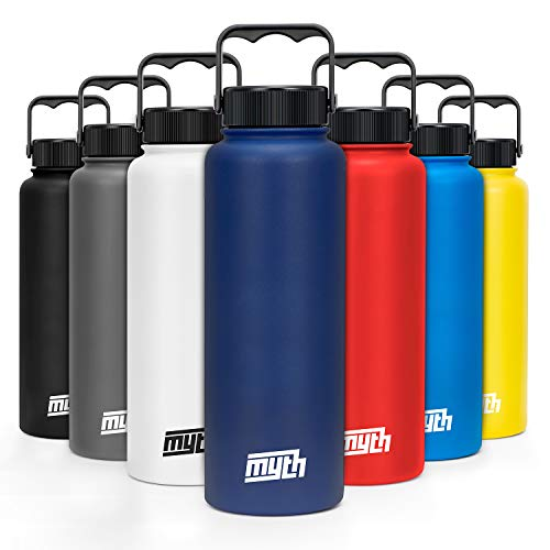Myth Stainless Steel Water Bottle w/Insulated Wide Mouth Lids (40oz 32oz 18oz) - Double Walled Extra Thick Vacuum Insulated Sweatproof Design w/Powder Coated Grip
