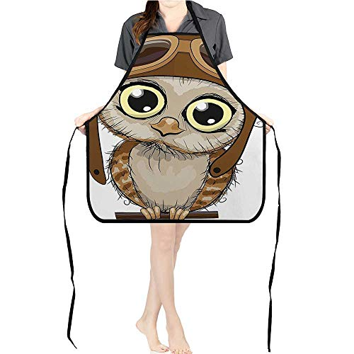 Jiahong Pan Durable Kitchen Owl Pilot Hat Ey Caricature Characters Wildlife Humor Comic istic Chef Apron for Cooking,Grill and BakingK26.6xG27.6xB10.2 - Hat I Lucy Love Chefs