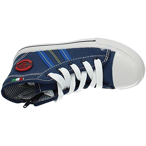 DEMAX 5-K2784-18 Botines Bambas Lona Niño Zapatillas Azul