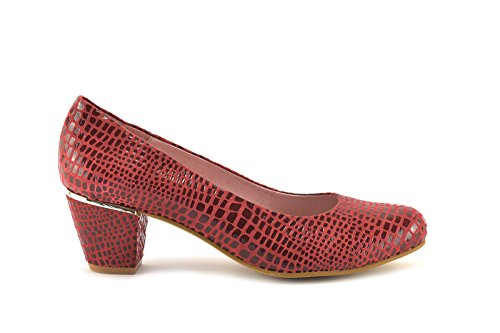 ConBuenPie by Chamby - modelo 725 - Calzado de Piel estilo Casual para Mujer Colores Negro y Rojo Rojo