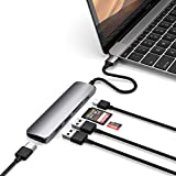 Satechi Slim Aluminum Type-C Multi-Port Adapter V2 with USB-C PD, 4K HDMI, Micro/SD Card Readers, USB 3.0 - Compatible with 2016/2017/2018 MacBook Pro/MacBook, Microsoft Surface Go (Space Gray)