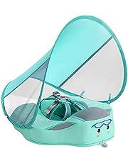 Zwemring voor baby's en peuters, solide, niet-opblaasbare babyzwemband met zonnescherm, waterdichte luchtdichte zwemtrainer