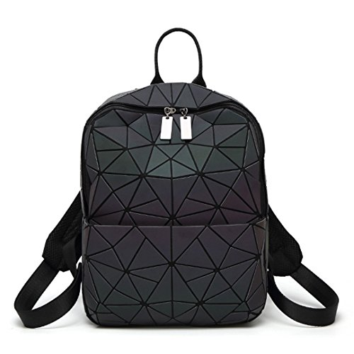 Women Backpack Luminous Shining Geometric Triangle Small Daypack For Girls Style A