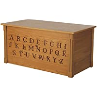 Wood Toy Box, Large ABC Toy Chest in Oak, Thematic Font, Custom Options (Cedar Base)