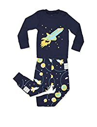 "Elowel Little Boys""Space Rocket"" 2 Piece Pajama Set 100% Cotton (Size2Y-12Y)"