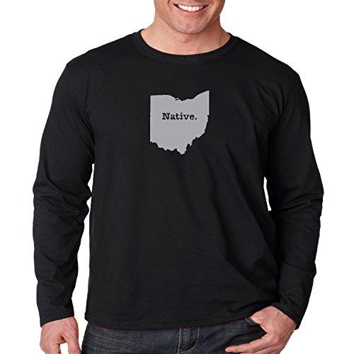 Ohio State Map Long Sleeve Shirt Native OH Mens S-3XL (Black, 2XL)