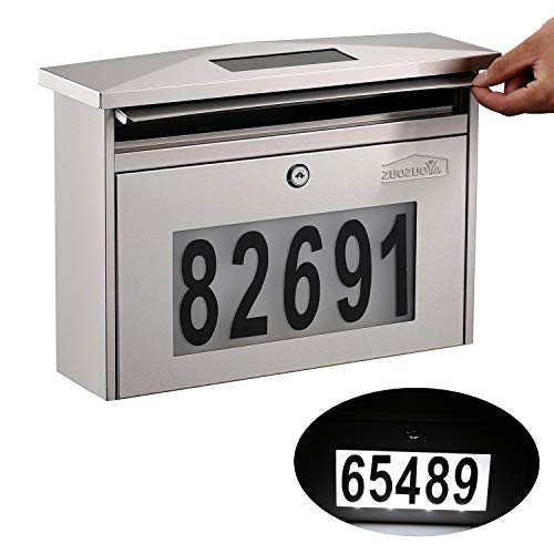 Wall Mount Locking Mailbox - Solar House Numbers Light Large Capacity Illuminated at Night - Waterproof Stainless Steel Address Numbers Mail Box Outdoor with Key