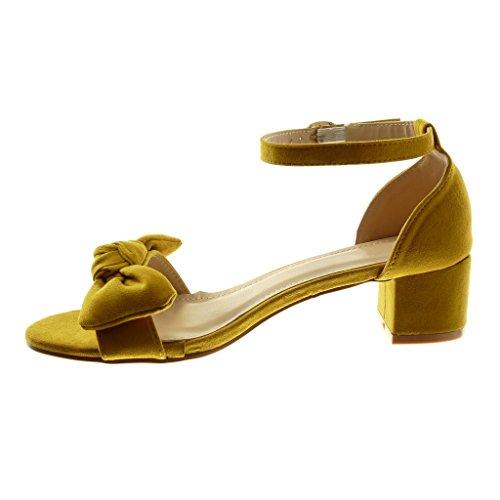 Angkorly Damen Schuhe Sandalen - Knöchelriemen - Knoten - String Tanga Blockabsatz High Heel 4.5 cm Senffarbe