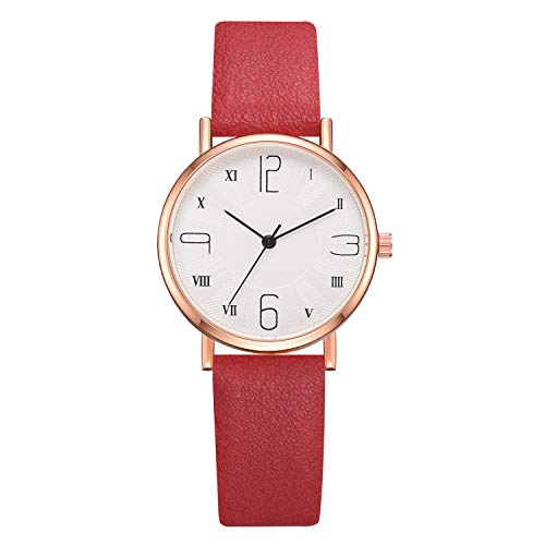 Artificial Leather Band Roman Numerals Dial Quartz Analog Leather Strap Watch (Red )