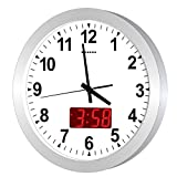 KWANWA 12' Metal Quartz LED Wall Clock Battery Operated with 1.34'' Digital Time or Temperature Display Non Ticking Silent Quiet Sweep Second Hand