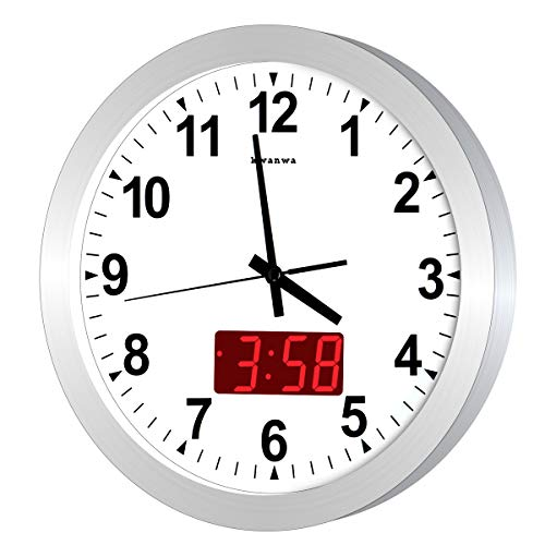 "KWANWA 12"" Metal Quartz LED Wall Clock Battery Operated with 1.34"