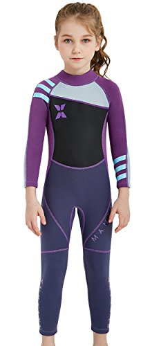 (DIVE & SAIL Kids Swimwear Long Sleeve Wetsuit One Piece Full Suit Sun Protective Thermal Swimsuit Diving Swimming Suit Purple)