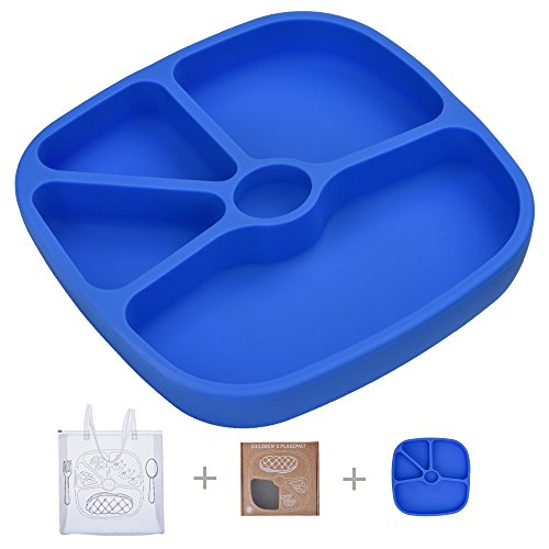 Silicone Baby Suction Plate,TOPQSC Infant Toddlers Kids Non-skid Tray Portable Place Mat fits Most Highchair+Bonus a HQ Portable Bag Blue