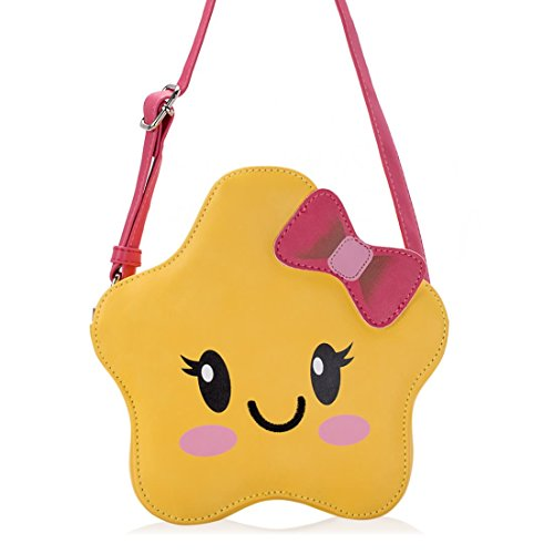 Ava & Kings Little Girl PU Faux Leather Purse Messenger Crossbody or Shoulder Bag for Kids, Teens, Toddlers, Cosplay Cute Fun Design - Yellow Star Face - Shaped Face