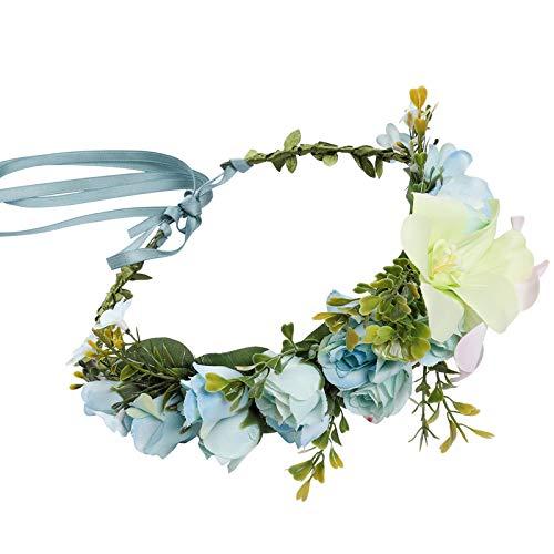Flower Headband Light - HAIMEIKANG Adjustable Flower Crown Headband - Women Girl Festival Wedding Flower Wreath Headband (1, Light blue)
