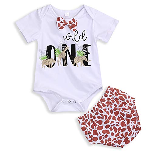GRNSHTS Baby Kids Birthday Giraffe Romper Outfits Infant Boy Short Sleeve Gentleman Bodysuit Cake Smash Party Clothes (Giraffe, 12-15 Months)