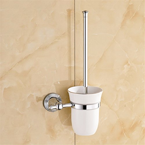 AiRobin-Brass Chrome Plated Wall Mounted Toilet Brush Holder Bathroom Accessory